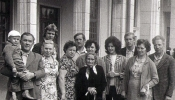 Back to Bashkortostan - seeing off relatives at Sigulda train station, 1970s