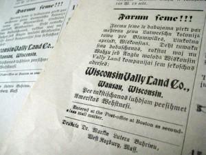 """Reklāma zemei Viskonsīnā no Bostonas laikraksta """"Amerikas Vēstnesis"""""""